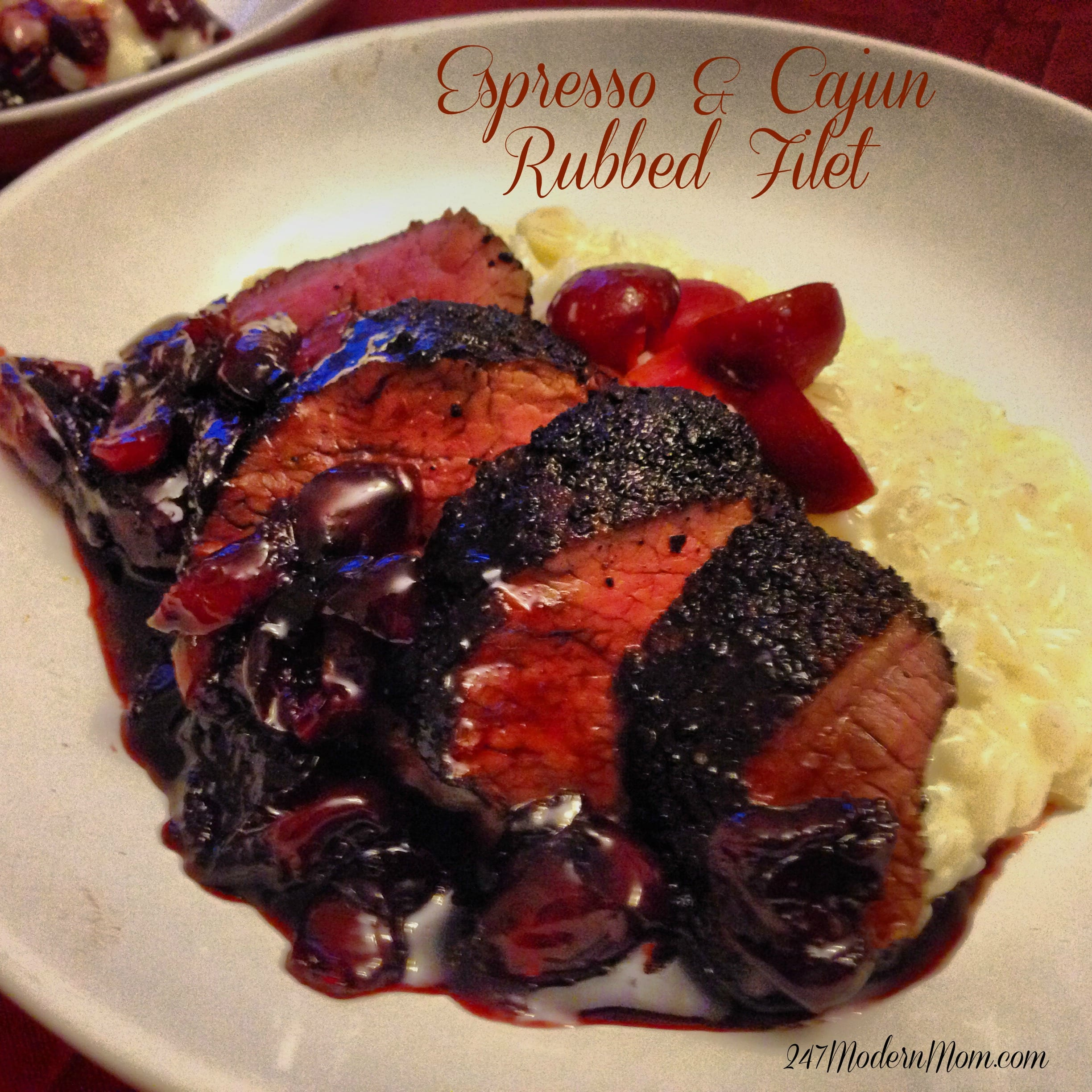 Espresso & Cajun Rubbed Filet with White Chocolate Risotto & Port Cherry Pan Sauce