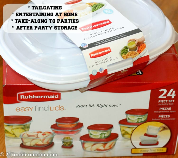 Easy Find Lids containers and Rubbermaid Party Platter